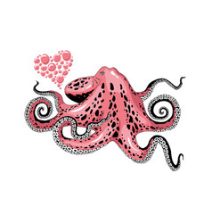cartoon pink octopus love clip-art isolated on vector image