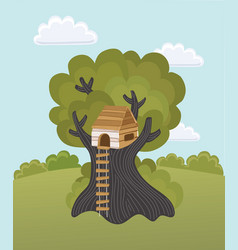 children playing in a tree house vector image