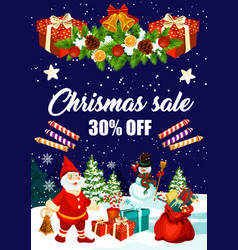 christmas sale banner of xmas discount price offer vector image