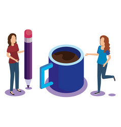coffee cup with people isometric vector image