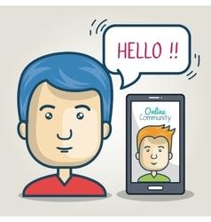 community online man smartphone bubble speech vector image