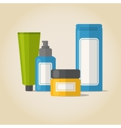 Cosmetic bottles set in flat style vector image