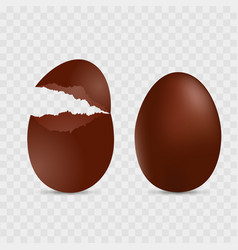 cracked and full chocolate egg vector image