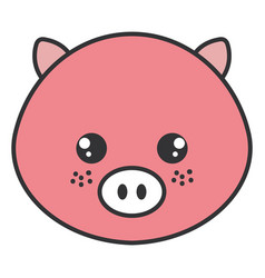 Cute and tender pig head character vector