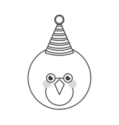 Cute bird with party hat vector image