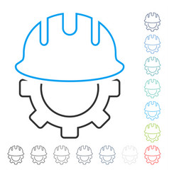 development hardhat line icon vector image