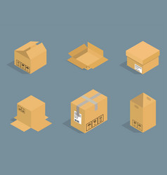 different box isometric icons isolated pack vector image