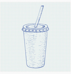 disposable cup with drinking straw blue hand vector image