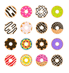 donut set isolated on white doughnut vector image