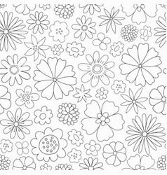 doodle floral pattern spring seamless vector image