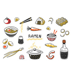 Doodle ramen chinese hand drawn noodle soup with vector
