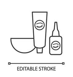 Eyebrows and eyelash dye kit linear icon vector
