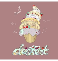 fantastic cakes with dessert menu vector image
