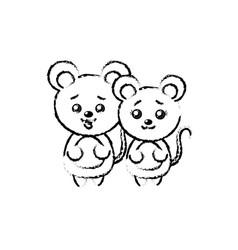 Figure cute couple wild animal with beautiful vector