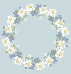 floral round pattern on blue background vector image