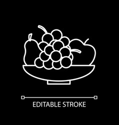 fresh fruits in bowl white linear icon for dark vector image