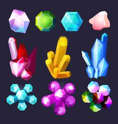 Gemstones cartoon crystals rock stones and quartz vector