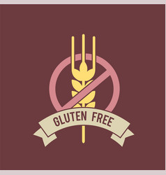 Gluten free inscription with stop sign and wheat vector