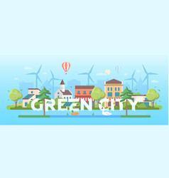 Green city - modern flat design style vector