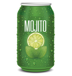 Green tin can with mojito text lime slice vector