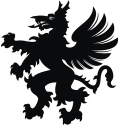 Griffin tattoo black white silhouette vector