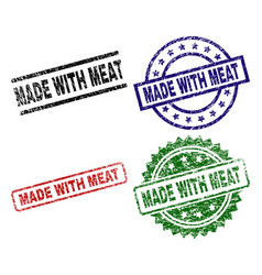 grunge textured made with meat stamp seals vector image