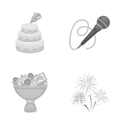 Hand making a cake with cream a microphone with a vector