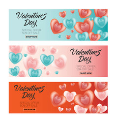 happy valentines day sale poster banner set vector image