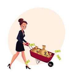 Happy woman girl businesswoman pushing vector
