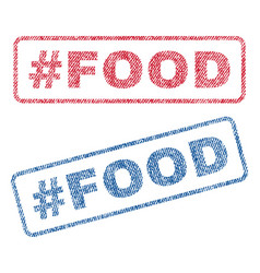 Hashtag food textile stamps vector
