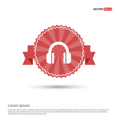 headphone icon - red ribbon banner vector image