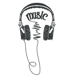 headphones t-shirt graphic tee print vector image