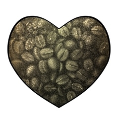 Heart background Abstract coffee beans vector