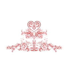 Heart greeting and ornaments vintage vector