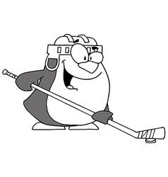 Hockey penguin cartoon vector image