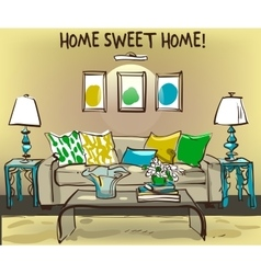 home interior with sofa and coffee table vector image