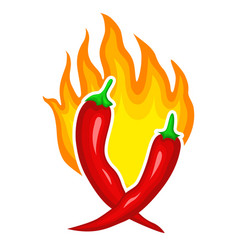 hot red pepper icon brigth fire decoration vector image