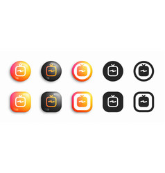 igtv modern 3d and flat icons set vector image