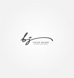 Initial letter bj logo - hand drawn signature logo vector