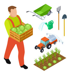 isometric farmer and gardening equipment vector image