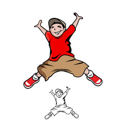 jumping boy cartoon vector image