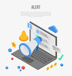 Laptop alert notification concept banner vector