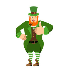 leprechaun winks dwarf with red beard thumbs up vector image