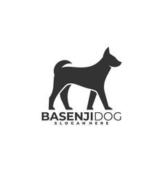 Logo dog walking silhouette style vector