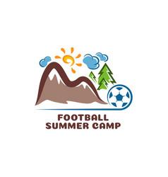 logo football summar camp fun cartoon vector image