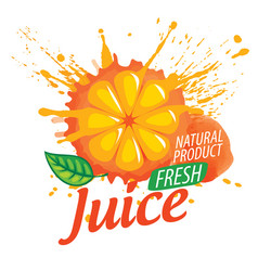 logo orange juice splatter on white vector image