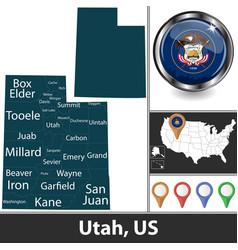 map utah us vector image