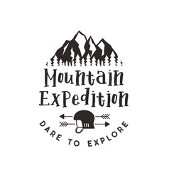 mountain expedition label with climbing symbols vector image