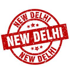 new delhi red round grunge stamp vector image vector image
