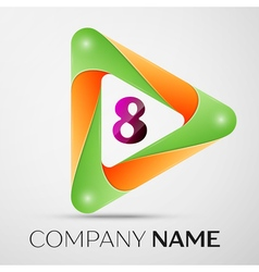 Number eight logo symbol in the colorful triangle vector